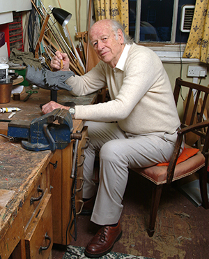 Ray working on a bronze sculpture in his workshop in London